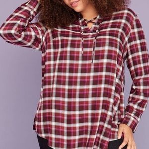 Lane Bryant purple and white plaid flannel tunic